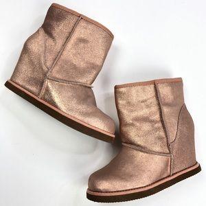 Nine West   Wedge Metallic Pink Fuzzy Boot